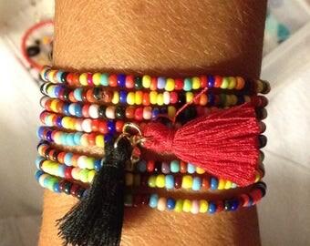 Bracelet seed bead with tassel