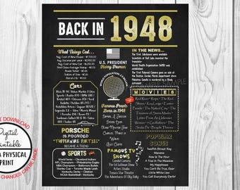Back in 1948 Chalkboard Style Poster, 1948 The Year You Were Born, 70th Birthday Poster Sign, Printable, Instant Download, 70 years ago