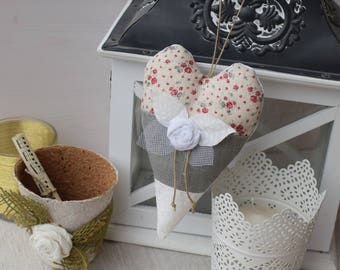 Heart cushion decorative harmony fabric and pink shabby - door cushion to hang - hanging heart - floral fabric heart - pink fabric