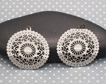 set of 4 beautiful prints ESTA23 silver filigree