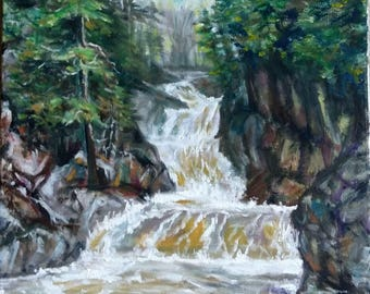 "Original Oil Painting, Landscape- Waterfall in Forest, 20""x16"", 1708306,"