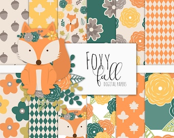 Foxy Fall Digital Paper Pack | Scrapbook Paper | Printable Background | 12 JPG, 300dpi files.