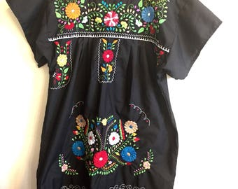 Women's Mexican Hand Embroidered Mini Dress Black Color
