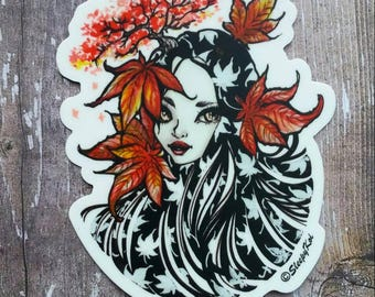 Maple Witch - Halloween and Nature themed 3 Inch Die Cut Weatherproof Vinyl Sticker /Decal from Drawlloween /Inktober 2017