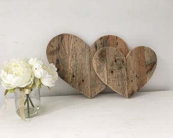 Wooden Hearts - Mothers Day Gift - Rustic Wooden Hearts - Rustic Wedding Decor - Farmhouse Decor