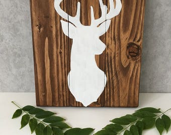 Wooden Stag Sign - Small Stag sign - woodland nursery decor - White Stag - Nursery wall art