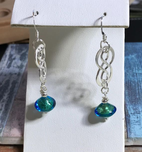 Murano Glass Beaded Pierced  Earrings with Sterling Dangles