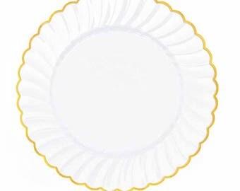 Wedding Plates, Set of 20 Plates, Nice Plastic Plates,White Dessert Plates,Gold Scallops,Bridal Shower Plates,Good Quality,White Cake Plates