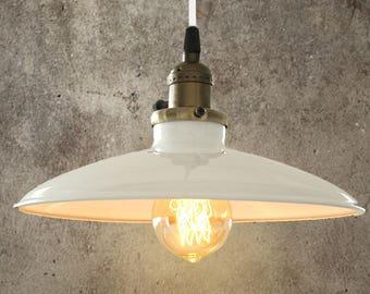 vintage white industrial ceiling light pendant antique retro french style shade art deco unique pendant - Edison Chandelier