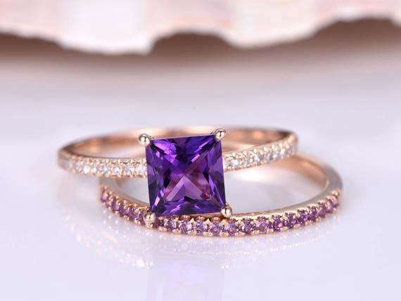 Amethyst Ring Set,6mm Princess Cut Amethyst Engagement Ring,Natural Gem Stone,Half Eternity Amethyst Matching Band,Petit Band,14K Rose Gold