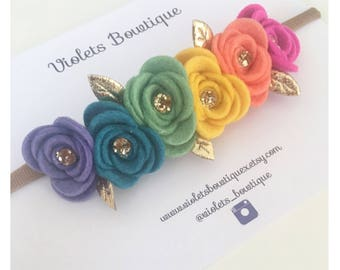 Bright Summer Rainbow Flower headband - baby headband - rainbow flowercrown