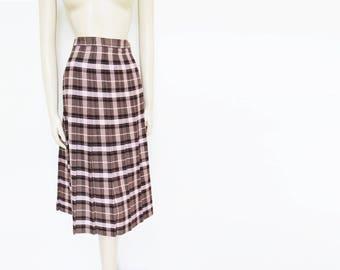 UK14, Checked Skirt, Tweed Skirt, Vintage Clothing, Pleated Midi Skirt, Pink Skirt, Clothing, Secretary Skirt, Vintage Lady