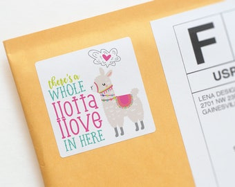 Llama Stickers - Happy Mail Stickers - Llama Love - Product Packaging Stickers - Envelope Label - Pen Pal Stickers - Pretty Packaging