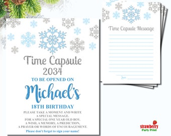 Winter Onederland Time Capsule, Winter Birthday Time Capsule, Blue & Silver Boy First Birthday, Time Capsule Sign Digital Printable, A60