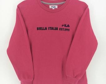 Fila Biella Italia Pink Sport Classic Vintage Design Skate Sweatshirt Sweater Varsity Jacket Size M #A837