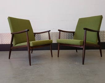 Set of TWO Dansih Mid Century Armchairs Upholstered Vintage