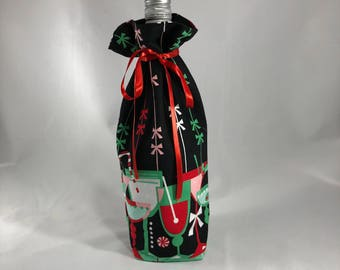 Wine bottle gift bag - cocktail print