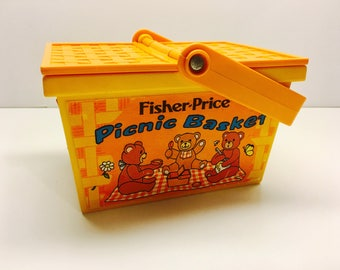 Vintage Fisher Price Picnic basket, 1970's WORKING