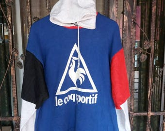 Vintage Le coq sportif hoodie spellout big logo/hip hop/sportwear/streetwear/made in japan