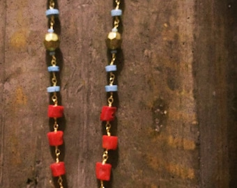 Turquoise, red, & gold bead necklace