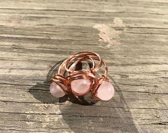 Rose Quartz Nested .925 Sterling Silver Ring