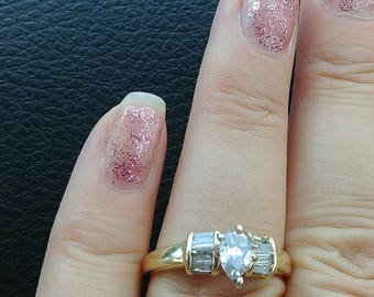14k Gold Pear Baguette Diamond Wedding Engagement Ring