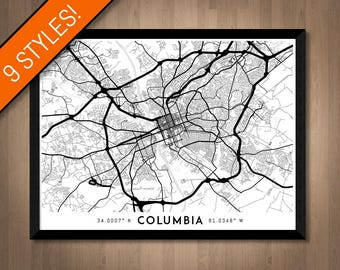 Every Road in Columbia map art   Printable Columbia map print, South Carolina map, Columbia print, Columbia poster, Columbia art wall art