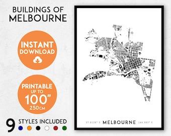 Melbourne city map print, Printable Melbourne map art, Melbourne print, Australia map, Melbourne art, Melbourne poster, Melbourne wall art