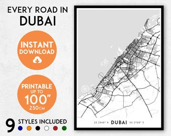 Dubai map print, Printable Dubai map art, Dubai print, United Arab Emirates map, Dubai art, Dubai poster, UAE map, UAE print, Dubai wall art