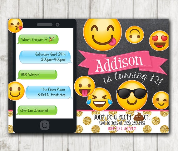 Printable Emoji Birthday Party Invitation Chalkboard Emoji