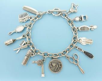 Hair Stylist Bracelet Hairdresser Silver Charm Bracelet Pendant Jewelry Beautician