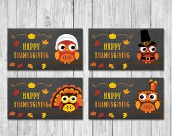 Thanksgiving Favor Tags | Chalkboard Owls | Thanksgiving Party Tags | Thanksgiving Cutlery Tags | Thanksgiving Pilgram Turkey Tags