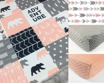 DEER CRIB SET, pink baby minky bedding adventure girl crib set, bedding set pink gray deer woodland, baby girl blanket, baby shower gift