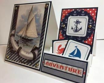 Nautical Card, Stair Step Card, Boating Card, Ocean Card, Sailing Card, Handmade Card