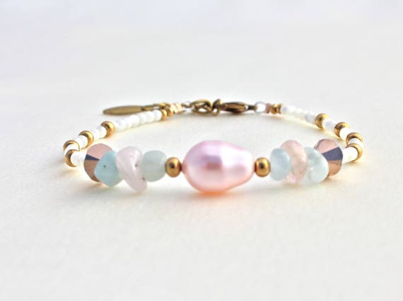 Bracelet gemstones and wedding swarovski Pearl: morganite, Aquamarine and mother of Pearl