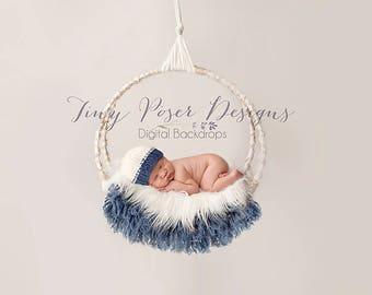 Digital Backdrop Background Composite Swing Newborn Photography Prop Blue Boy