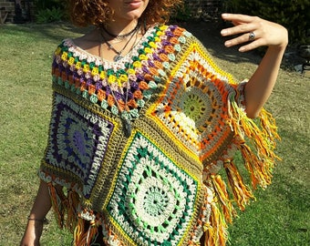 Unique creation fringed light weight poncho