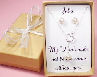bridesmaid gift,sterling silver heart necklace,bridesmaid necklace,bridesmaid jewelry set,heart pearl necklace