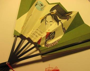 Japanese Folding Paper Fan of Ukiyo-E Blockprint of Bijin Woman