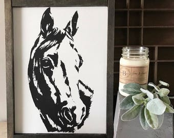 Horse Sign |Hand Painted Horse Sign |Wood Horse Sign |Horse Head Sign | Farmhouse Sign | Horse Decor | Farmhouse Decor