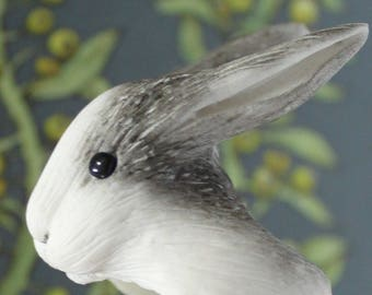 "Handmade adjustable polymer clay ring ""Rabbit"" follow the white rabbit"