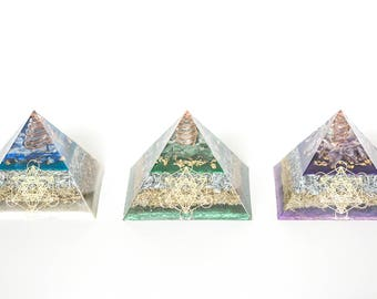 Large Metatron Energy Pyramid Series with quartz crystal & EMF / RF Protection