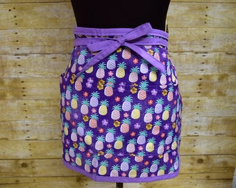 Purple Hawaiian print apron, Server apron, Pineapple print apron, Vendor apron, Waitress apron