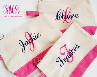 Bridesmaids Makeup Bag, Bridesmaids Cosmetic Bag, Monogram Makeup Bag, Personalized Bridesmaid Gifts, Monogram Bridesmaid Gifts, Makeup Bag