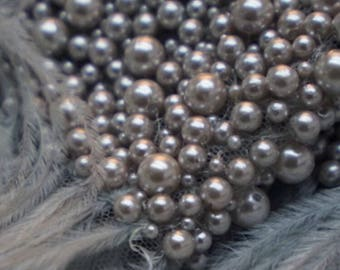 Stunning Couture Luxury Hand Embroidered Tulle with Pearls and Ostrich Feathers--4 yards