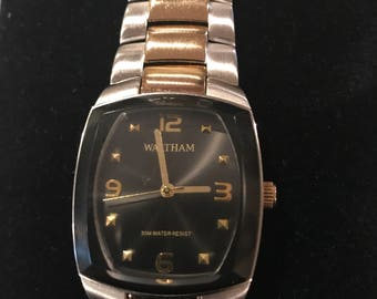 Vintage Waltham Silver and Gold Mens Watch, Vintage Waltham Watch, Mens Watch, Vintage Mens Watch