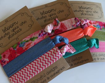 Bloom Where You Are Planted Soft Hair Ties - Pink Floral - No Crease Hair Tie - Party Favors - Soft Hair Tie - Workout Hair Tie