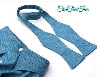 Upcycled Bow Tie ~ Eco Friendly Bow Tie ~ Up-cycled Bow Tie ~ Teal Bow Tie ~ Recycled Bow Tie ~ Eco Fashion ~ Upcycled Clothing