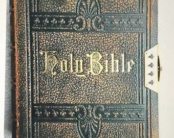 Antique Oxford Church Bible with Brass Catch - Large - 1800's