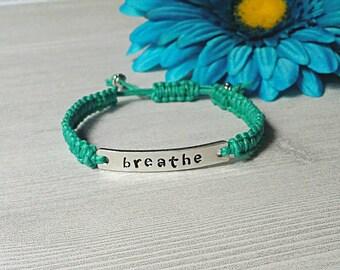 Breathe Bracelet, Macrame Bracelet, Macrame Jewelry, Hand Stamped Bracelet, Woven Bracelet, Friendship Bracelet, Stacker Bracelet, Breathe